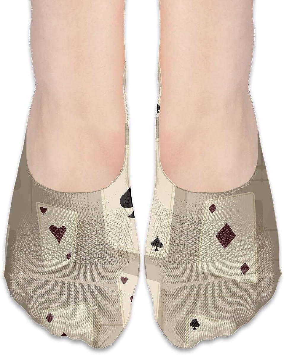 No Show Socks Women Men For Poker Card Gery Flats Cotton Ultra Low Cut Liner Socks Non Slip