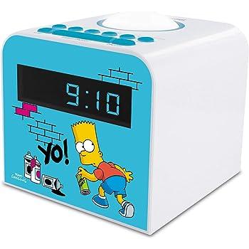 METRONIC 477443 Radio réveil veilleuse enfant Bart Simpson bleu et blanc Bleu