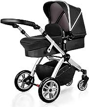 Kinderwagen 2-in-1, Upgrade Baby Buggy mit unabhängigem Sitz und Stubenwagen, Kombi-Kinderwagen, Fußsack und Getränkehalter, 7 Geschenke, Schwarz