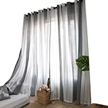 Anady Top Grey White Striped Sheer Curtains 2 Panel Geomertry Stripes Voile Sheer Drapes Grommet 63 inch Lenght(Customized Available)