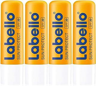 Labello Sun Protect in confezione da 4 (4 x 4,8 g), rossetto impermeabile con protezione solare (LSF 30), cura delle labbr...
