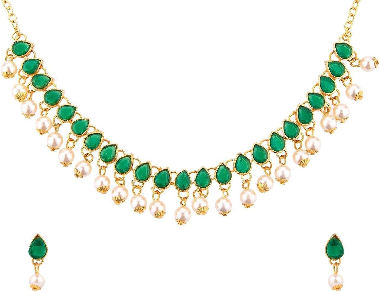 Efulgenz Fashion Indian Bollywood Crystal Kundan Faux Pearl Gold Plated Wedding Bridal Choker Necklace Earrings Jewelry Set