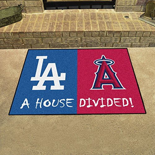 StarSun Depot California House Divided Mat MLB House Divided - Dodgers/Angels 33.75