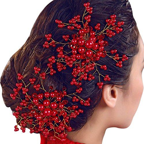 xinlianxin 1 pieza de cristal de perla roja para mujer, peineta para...