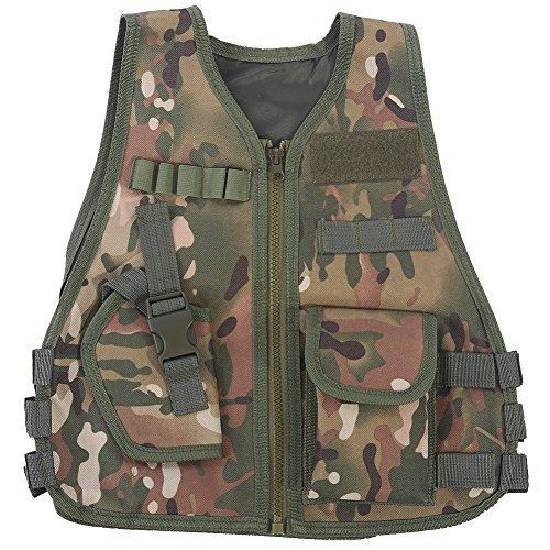 Keenso Kinder-Tarnweste, hochwertige Misch-Kinder-Tarnweste mit Mehrfachtasche für Outdoor-Aktivitäten(S-CP Tarnung)
