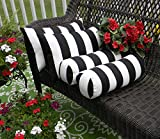 Resort Spa Home Decor Set of 4 Indoor/Outdoor Decorative Bolster/Neckroll and Rectangle/Lumbar Pillows - Black and White Stripe