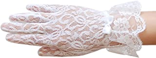 ZaZa Bridal Stretch Floral lace Gloves for Girl with lace Ruffle Trim Wrist Length 2BL