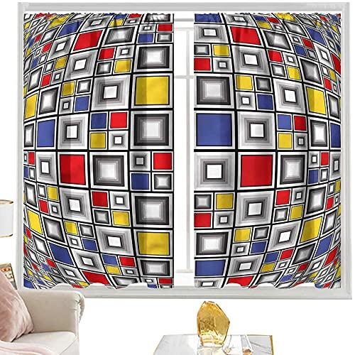 Cortinas de bloqueo de luz geométricas, mosaico de colores cuadrados W52 x L54 pulgadas cortinas opacas de bolsillo de barra