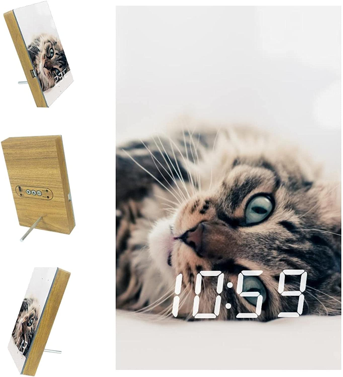 Yuzheng Cheap mail order sales Electric Clocks with Pictures Lying Grey Rare Electronic Cat