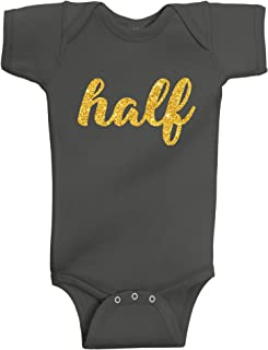 Reaxion Aiden's Corner - Handmade Baby Boy and Baby Girl Half Birthday Silver and Gold Glitter Flake Bodysuits - 1/2 Birthday