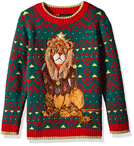Blizzard Bay Boys Ugly Chrismas Sweater Animals, Green/red/Lion, 8-10 S