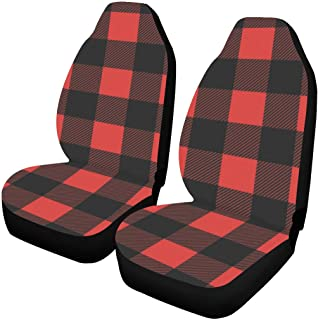 INTERESTPRINT Black and Red Lumberjack Plaid Car Seat Covers Set of 2 Protectors