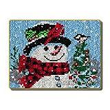 Latch Kits Alfombra Bordado Lo Hace Alfombra de Felpa Alfombrilla de Bordado Kit de fabricación de alfombras DIY Decoración para el hogar,Snowman,50cm/20inch