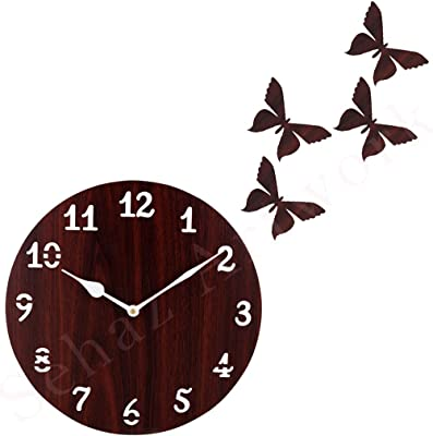 Sehaz Artworks Simple Butterflies Decorative Wall Clock Non Ticking Silent - 10 Inch Quartz Battery Operated Round Easy to Read Home/Office/Kitchen/Bedroom/Hall Way/Classroom Decor Clock
