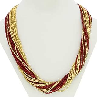 Murano Glass Gloriosa 24 Strand Seed Bead Necklace - Red and Gold