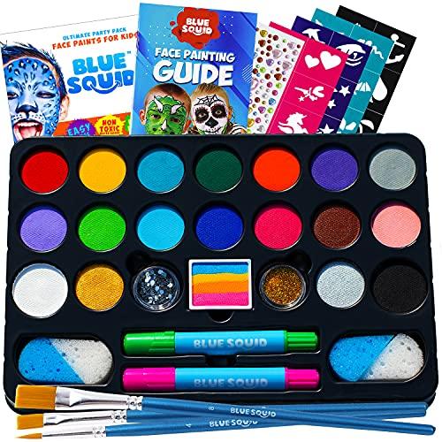 Blue Squid Palette de Maquillage pour Enfants, Face Painting Party Pack 160 Pieces, 22 Painting Couleurs Vives, 24 Pochoirs, 2 Pinceaux, Non-Toxique Ensemble de Peinture à Base d'Eau, Rainbow Cake