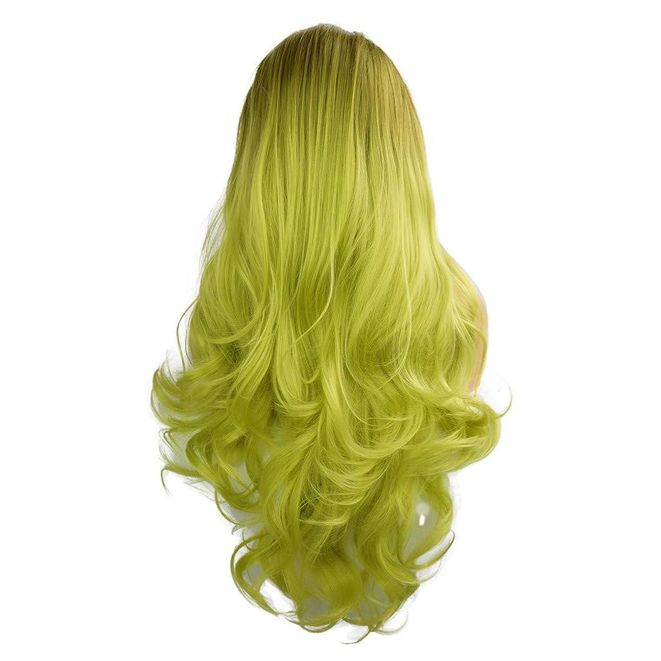 以内にサワーゴールかつらグラデーション長い巻き毛のフロントレースファッションかつら26インチ