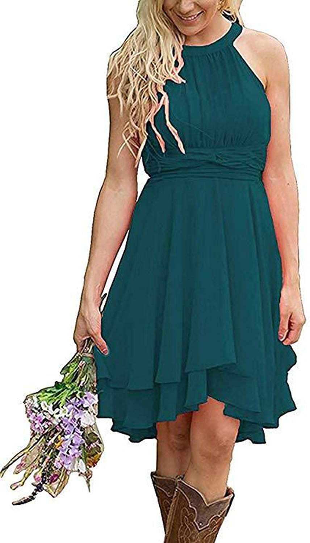 Women's Knee Length Country Bridesmaid Dresses Chiffon Halter Western Wedding Guest Dress