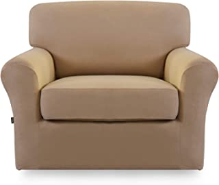 Easy-Going 2 Pieces Microfiber Stretch Couch Slipcover – Spandex Soft Fitted Sofa Couch Cover, Washable Furniture Protector with Elastic Bottom Kids,Pet (Chair,Camel)