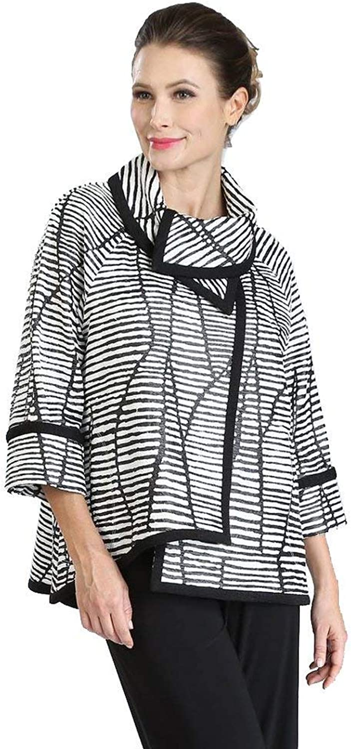 IC Collection Mixed Stripe HighLow Jacket in Black White