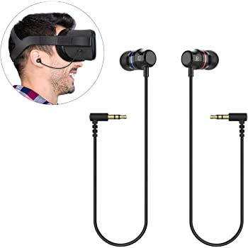 KIWI design Earbuds Earphones Custom Made for OculusQuest VR Headset Noise Isolating in-Ear Headphoneswith 3D 360 Degree Sound (Black, 1 Pair)
