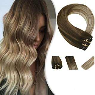 YoungSee 16inch Clip in Extensions Balayage Human Hair Straight Hair Extensions Dip Dyed Dark Brown Fading to Medium Brown with Blonde Hair Extensions 7Pcs Remy Clip on Hair 120G