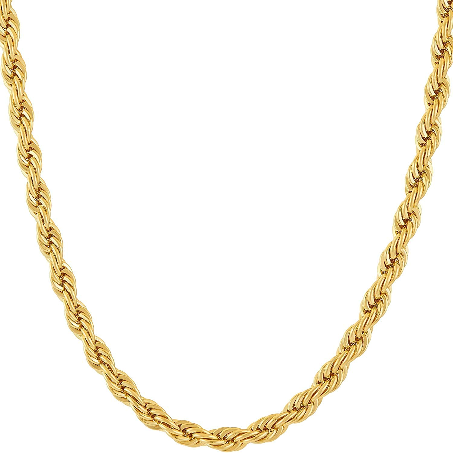 Gold Chain Necklace for Women & Men 7MM Rope Diamond Cut Jewelry 24,28 inches PVD Technology Solid Lobster Clasp. USA Designer Crafted