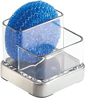 iDesign Forma Sink Caddy, Sponge Holder with 2 Compartments, Made of Plastic and Metal, Clear/Silver Coloured, Small
