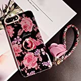 Phone 8 Plus Case, Phone 7 Plus Case for Girl Women, Bling Glitter Soft TPU Bumper Beauty Shiny Flower with Diamond Ring Kickstand Rose Pendant Protective Phone Cover for Phone 8plus/7plus
