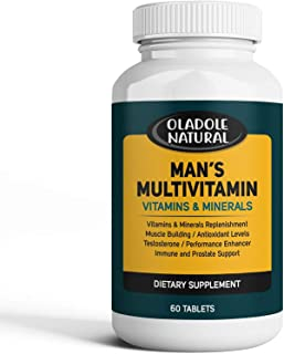 Men's Daily Multimineral Multivitamin Supplement. Testosterone Booster Vitamins A C E D B1 B2 B3 B5 B6 B12. Biotin, Spirul...