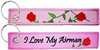 I Love My Airman / Roses - USAF Embroidered Key Chain Fob