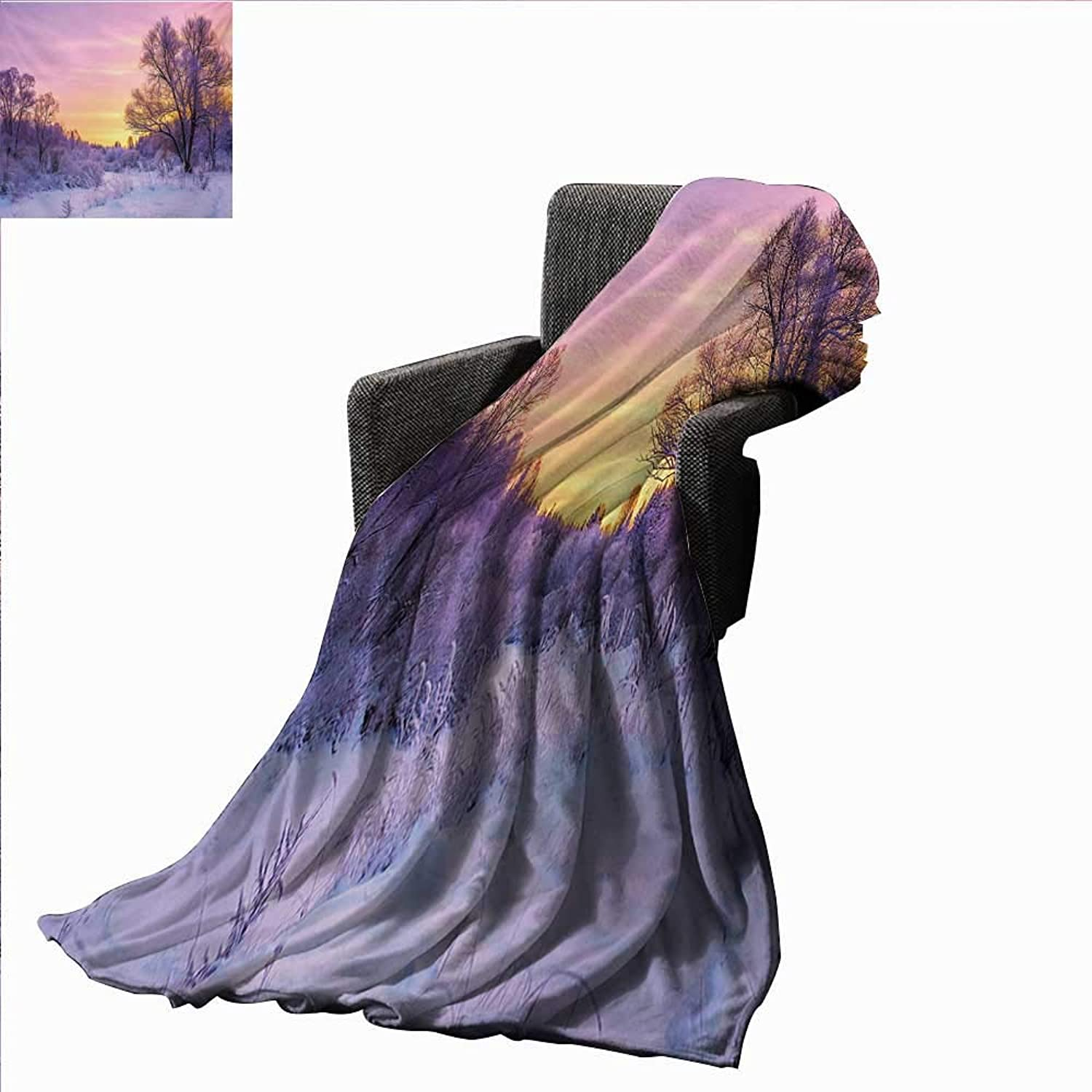 Forest Super Soft Lightweight Blanket Winter Landscape with Sunset and Frozen Trees Ice Weather Blizzard Cold Days Image,Super Soft and Comfortable,Suitable for Sofas,Chairs,beds