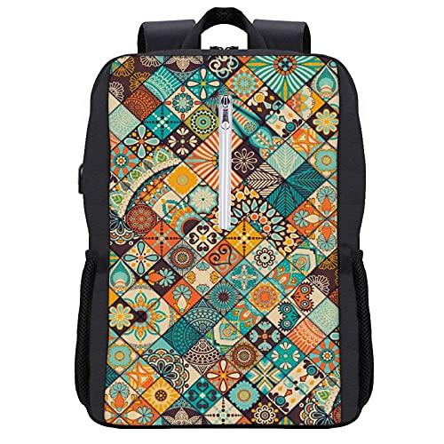 Zaino per computer portatile, 15,6 pollici, grande borsa per computer portatile, con porta USB, per donne e uomini, viaggi d'affari, con dinosauri verdi, teschio, Nero-stile 10, Taglia unica