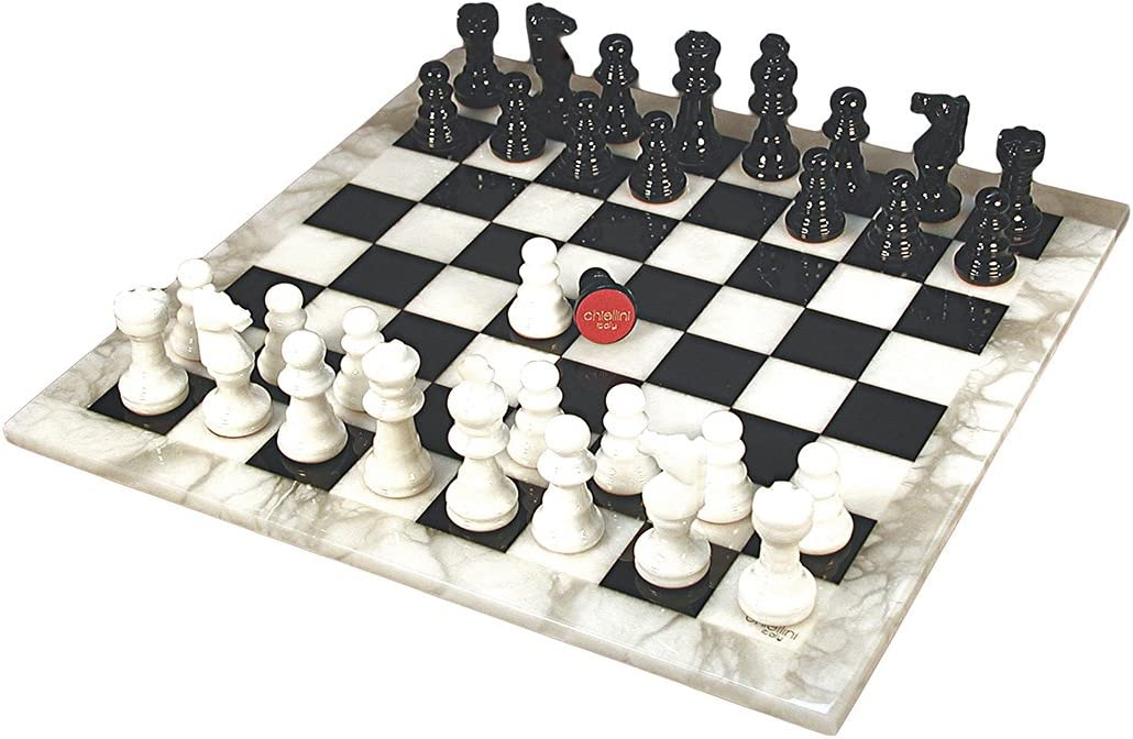 Alabaster Chess Set White Black in service Today's only