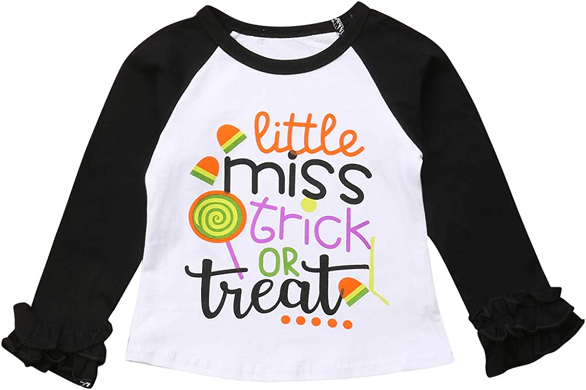 Infant Baby Girls Blouse Christmas Unicorn Pumpkin Print Ruffles Long Sleeve T-Shirt Tops Outfits