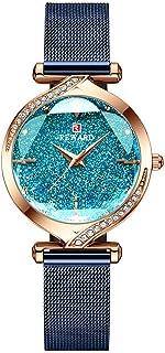 Shalwinn Reloj Mujer Diamante De ImitacióN Cielo Estrellado Reloj para Mujer Acero Inoxidable Impermeable Elegante Moda Oc...