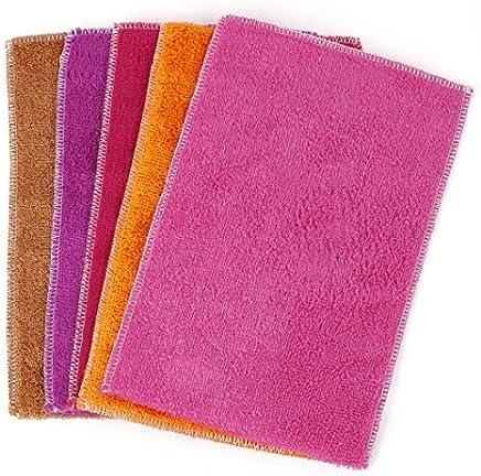 eDealMax fibra Electrodomésticos Cocina Plato de lavado Toallas 30cm x 20cm 5 piezas de colores surtidos