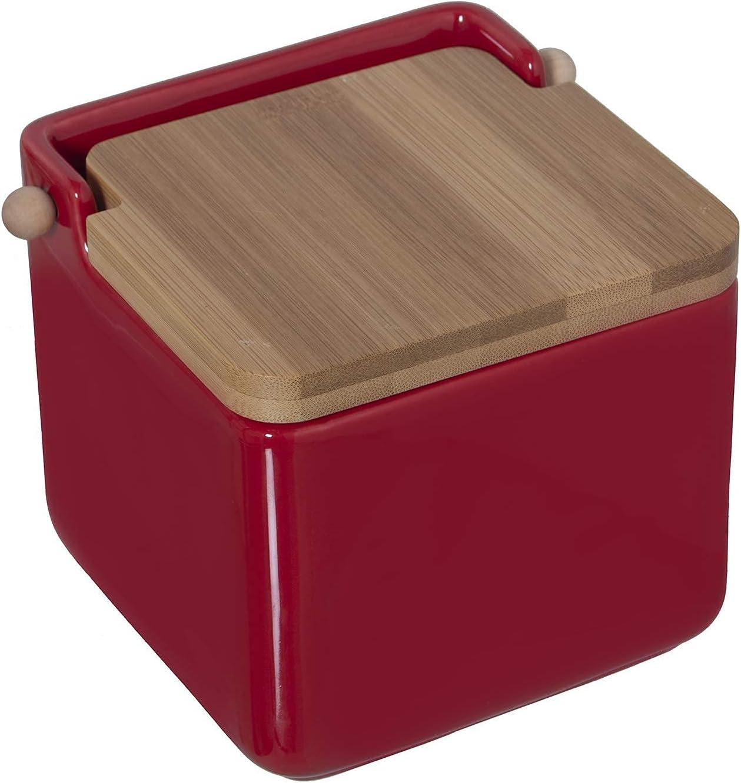 12x12x12cm TIENDA EURASIA/® Saleros de Cocina con Tapa Originales Blanco Cer/ámica con Tapa de Bamb/ú