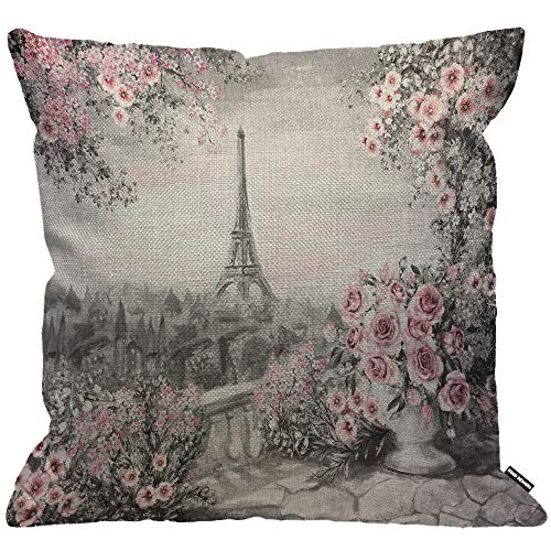 HGOD DESIGNS Cushion Cover Oil Painting Paris Eiffel Tower Flower Rose Pink Gray,Throw Pillow Case Home Decorative for Men/Women Living Room Bedroom Sofa Chair 18X18 Inch Pillowcase 45X45cm