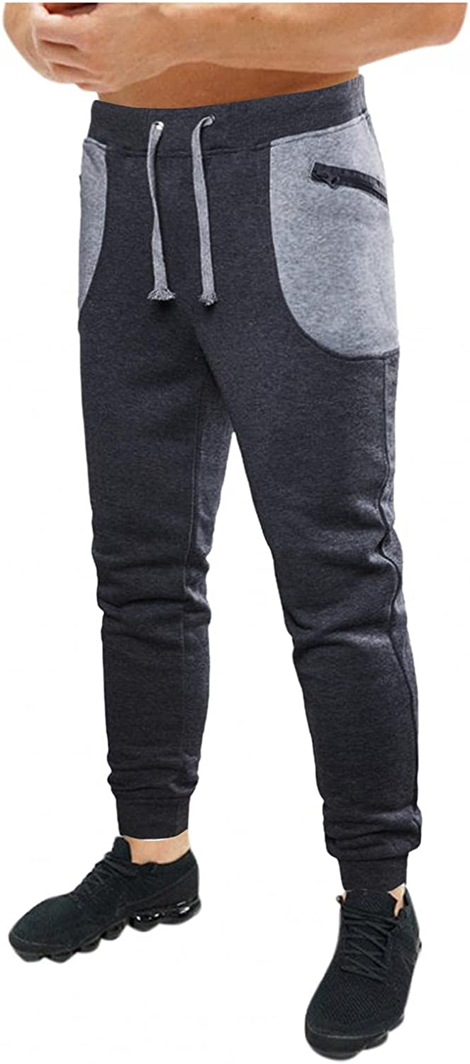 Beshion Mens Slim Joggers Gym Workout Pants Athletic Workout Sweatpants Training Tapered Athletics Pants with Zipper Pocket