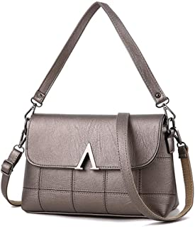 YALADLY Fashion Lady Shoulder Bag Temperament Flip Mother Bag Middle Age Lady Bag (Color : Silver)