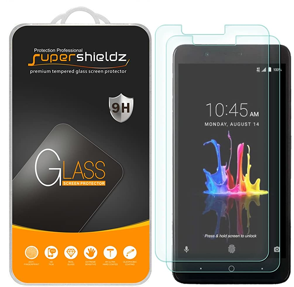 [2-Pack] Supershieldz for ZTE (Blade Z Max) Tempered Glass Screen Protector, Anti-Scratch, Anti-Fingerprint, Lifetime Replacement
