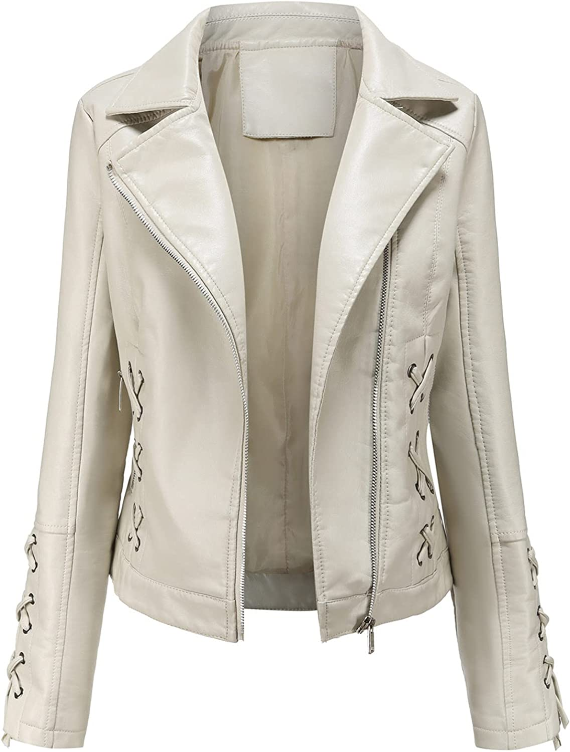 Women's Zip Up Faux Leather Black Jacket,Fashion Fall Winter Fitted Slim Short Lightweight Motorcycle Coat Tops