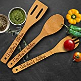 P Lab Personalized Utensil Set, Custom Name's Kitchen - Spoon, Slotted Spoon, and Spatula for Christmas & Mother's Day Gift - Premium Custom Engraved