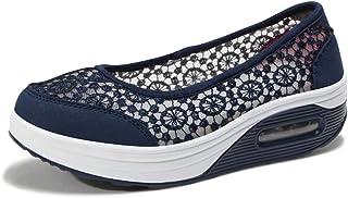 Kauson Nouveau femmechaussures Peu Profondes Dentelle d'été des Mailles Baskets Ballerines Loafers Chaussures Mailles Bask...