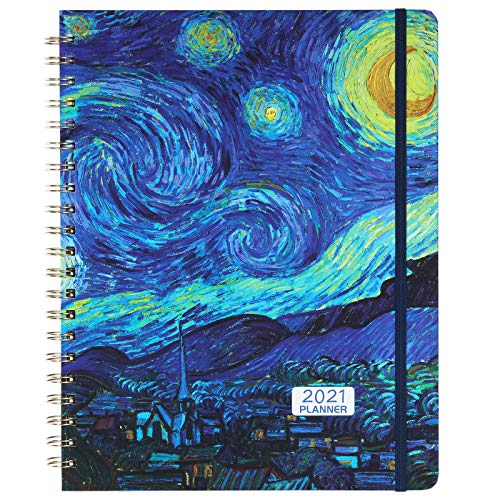 """2021 Planner - 2021 Weekly & Monthly Planner, 9.2"""" x 11.3"""", Jan. 2021 - Dec. 2021, Flexible Hardcover, Elastic Closure, Thick Paper, Monthly Tabs, Back Pocket - Starry Night"""