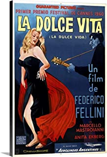 GREATBIGCANVAS Gallery-Wrapped Canvas Entitled La Dolce Vita, Argentinian Poster Art, 1960 by 12