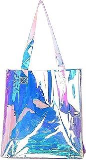Candice Shiny Fashionable Hologram Holographic Tote Bag PU Handbag Shoulder Bag,Big Bag for Gift