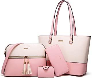 النساء أزياء الجلود الاصطناعية حقائب حمل حقيبة الكتف أعلى مقبض حقيبة حقيبة محفظة مجموعة 4 قطع