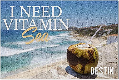 HD Destin Florida - I Need Vitamin Sea - Coconut Drink on Beach 100299 (Premium 500 Piece Jigsaw Puzzle for Adults 52*38cm Made in USA!)